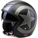 Viper rs-v06 Motorrad Helm offen - mattschwarz Stern - Schwarz, (57-58cm) Medium