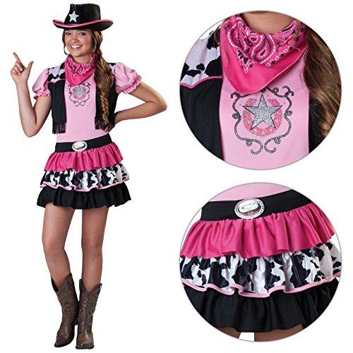 Amscan Mädchen Cowgirl Kostüm Pink–Inklusive Mütze und Halstuch./Kids Wild West Jesse Rodeo Cowboy Line Dancing (Hut Kind Rosa Cowgirl)