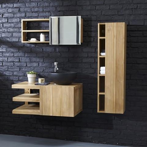 Tikamoon 1772 Typo Meuble Salle de bain Teck Beige 90 x 50 x 40 cm