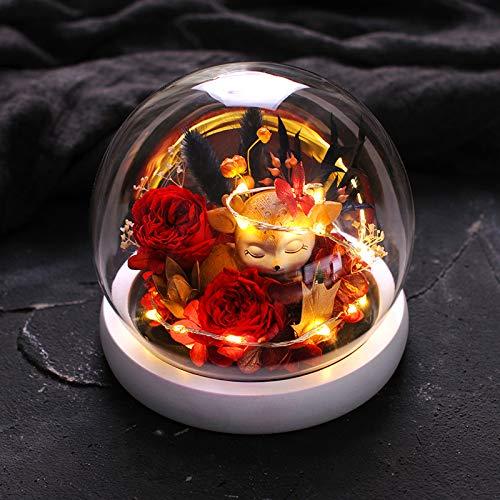 FullHouse Ewige Rose mit Geschenkbox und LED-Lichtern in Glaskuppel, 14 cm Deer-red Rose -