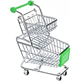 NF&E Kids Children Pretend Play Mini Double Tier Shopping Entertainment Fun Cart Trolley Home Room Office Decor Toy Gift Green