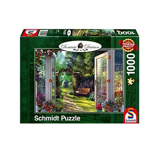Schmidt Spiele Puzzle 59592 Dominic Davison, Blick in den Verwunschenen Garten, 1000 Teile -