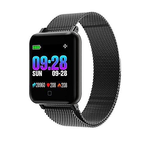 JiaMeng Smartwatches - M19 Smart Tracker per la misurazione della frequenza cardiaca del braccialetto della frequenza cardiaca BK Cinturino da polso smart watch cinturino milanese