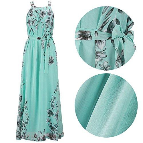 Donna Vestito Lungo di Chiffon Collare del Halter Senza Maniche Boho Abito da Maxi Verde