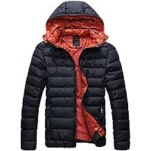 SODIAL (R) 2014 Hombres Caliente Abrigo con capucha sudadera abrigo anorak invierno chaqueta abajo Negro y Rojo - XL