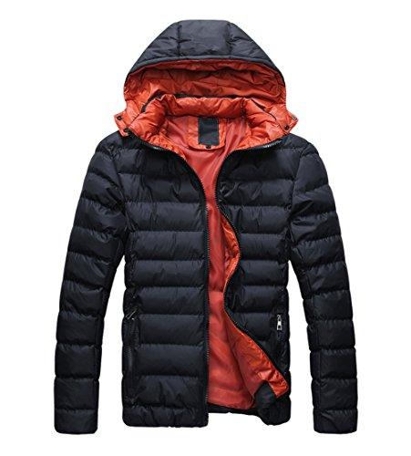 SODIAL (R) Maenner Mit Kapuze Mantel Parka Wintermantel Daunenjacke Outwear - Schwarz & Rot- Groesse XL