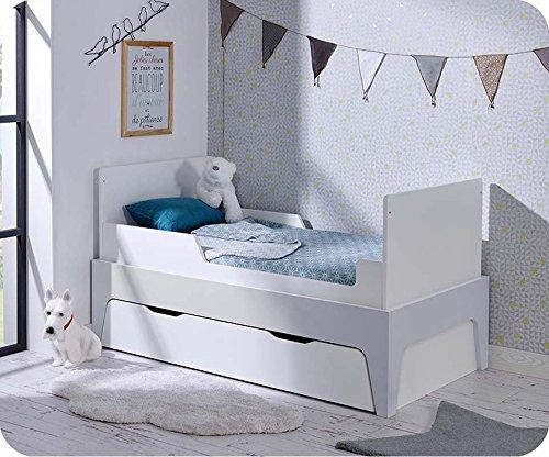 Paket Mitwachsendes Babybett Oléron weiß und hellgrau mit Schublade und Matratze - 3