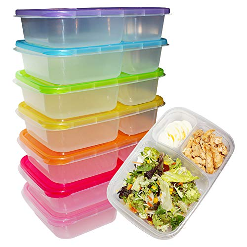 Pacco da 7 Bento Lunch Box - Contenitori Alimentari con 3 Scomparti e Coperchio - Scatola Controllo Porzione Cibo in Plastica - Impilabili, Riutilizzabili, per Microonde, Congelatore e Lavastoviglie