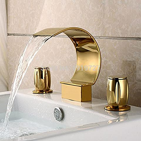 TougMoo Factory Direct Luxurious Widespread 3 Hole Waterfall Basin Faucet Gold Finish Bathroom Sink Mixer Tap,Brass,Yellow