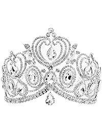 Santfe Tiaras de Cristal Transparente DE 10 cm para Novia, Boda, joyería para el Pelo, Diadema de Corona