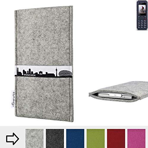 flat.design für bea-fon AL250 Schutz Hülle Handytasche Skyline mit Webband München - Maßanfertigung der Schutztasche Handycase aus 100% Wollfilz (hellgrau) für bea-fon AL250