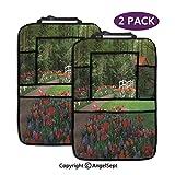 Organizzatore auto sedile posteriore, una capanna foresta giardino di primavera piccolo ponte piante aiuole passerella viola, protezione seggiolino auto con supporto per tablet (2 pezzi)
