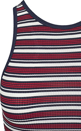 Urban Classic Ladies Rib Stripe Cropped Top, Canottiera Donna Mehrfarbig (White/Navy/Fire Red 01244)