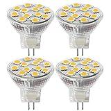 MR11 GU4.0 Lampadine LED, 2W (Pari alle Alogene da 20W), GU4 Base Lampada LED, 200lm, 12V AC/DC, Luce Bianca Calda 3000 K, Lampadine LED (4 Pezzi)