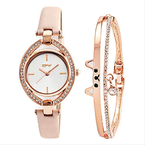 PLKNVT Top Qualität New Cut Cat Bangle Mit Mode Dame Uhr Cystal Shinny Stil Bewegung Rose Farbe Kette Armband Geschenk Set Für Mädchen