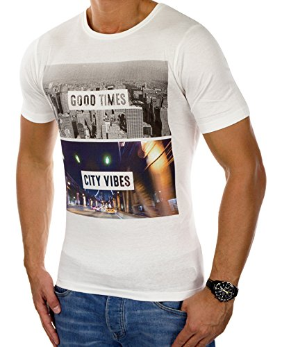 JACK & JONES Herren T-Shirt Mehrfarbig Print (S, Weiß (Cloud Dancer Fit:SLIM Detail:GOOD TIMES))