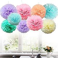 Time to Sparkle TtS 9 Pack Mixed Tissue Paper Pompoms Pom Poms Flower Wedding Party Decoration (9X Poms-Pastel)