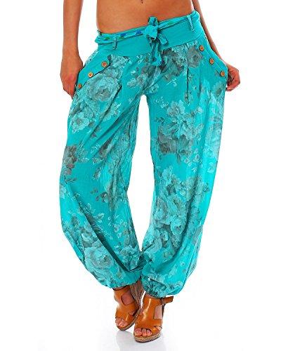 Moda Italy Damen Haremshose Pumphose Ballonhose Pluderhose Yogahose Aladinhose Harem Sommerhose mit Stoffgürtel Flower-Print, One Size Gr.36-42, Tuerkis