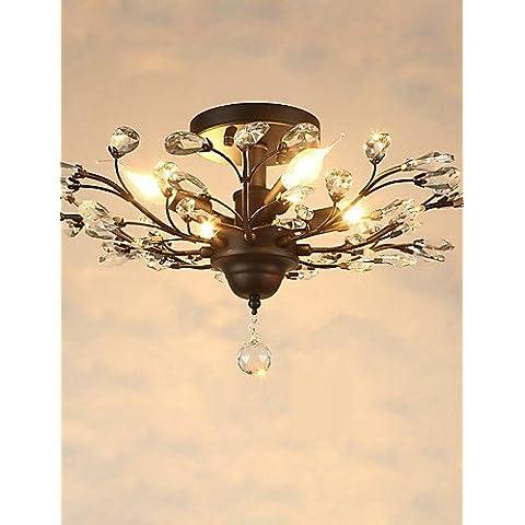 Vintage ZSQ Crystal Montaje empotrado/E12/E14 5luces/pintura metálica/ Salón / Dormitorio / Negro o Oro , 220-240 v-gold