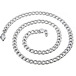 """24"""" 7mm Collier Chaîne Gourmette Maille Figaro"""