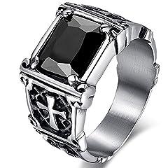 Idea Regalo - MENDINO, anello in acciaio inossidabile con zircone di cristallo rosso rubino, intarsio vintage con croce celtica, per uomo o donna, con sacchetto di velluto, acciaio inossidabile, 62 (19.7), cod. JRG0114BK-6
