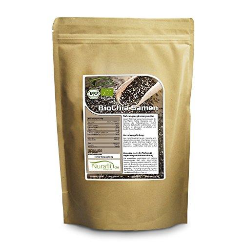 Nurafit BIO Chia Samen | Rohkostqualität | 100% raw vegan | viele Nährstoffe und Ballaststoffe