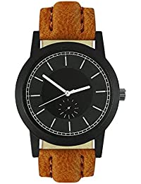 Style Keepers Attractive Stylish Sport Look Black Dial Stylish Brown Leather Strap Analog Watch For Men & Boys