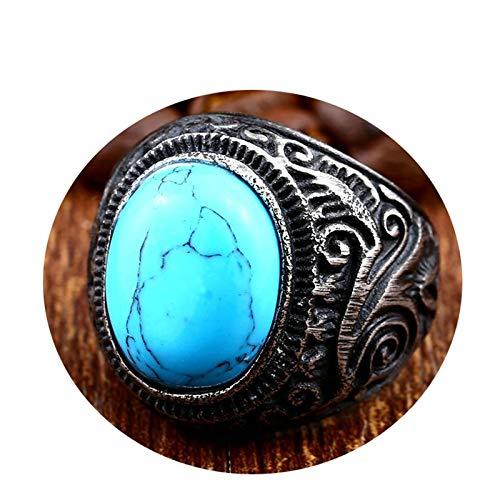 Blisfille Silber Ringe Vintage Edelstahl Ringe Herren Ring Herren Schwarz Grün Blau Türkis Schwarz Gr. 54 (17.2) (63 Lange Gardinen)