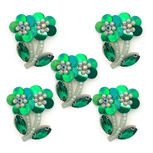 No.18 Green Flower Paillette, Perlina e Crystal Cucire pezzi speciali - abbellimenti per Abbigliamento, Accessori - Confezione da 5