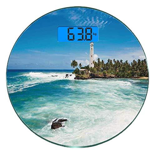 Digitale Präzisionswaage für das Körpergewicht Runde Leuchtturm Dekor Ultra dünne ausgeglichenes Glas-Badezimmerwaage-genaue Gewichts-Maße,Tropischer Insel-Leuchtturm mit Palme-Felsen-gewelltem Küsten
