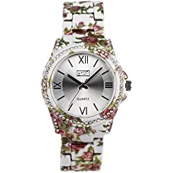 Eton Ladies Sunray Dial Crystal Bezel Grey Floral Bracelet Strap Watch 3250L