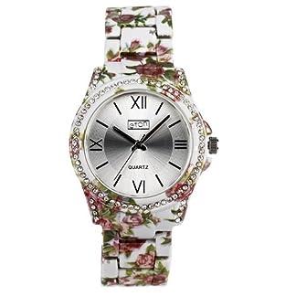 Eton señoras Sunray Dial Cristal Bisel gris Floral pulsera correa reloj 3250L