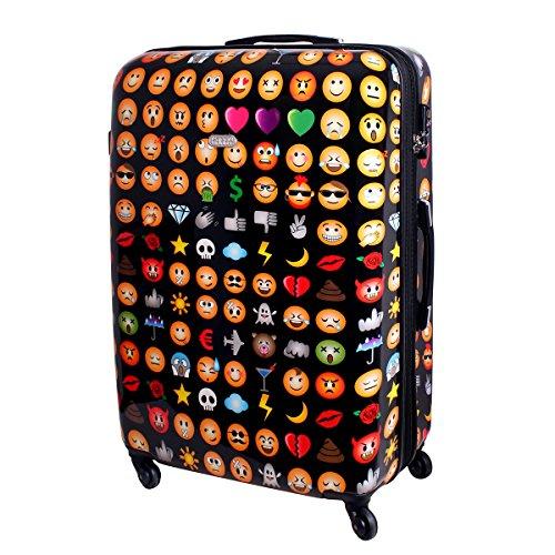 Karry XXL Hartschalen Reise Koffer Reisekoffer Trolley TSA Zahlenschloss 110 Liter Emoji