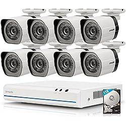 Zmodo ZM-SS78D9D8-S-1TB 8CH 720p G2 Spoe Kit de Sécurité avec 8 caméras IP intérieures/extérieures Blanc