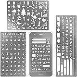 eBoot 4 Pièces Acier Inoxydable Grande Taille Pochoirs à Dessin Modèle D'acier pour Scrapbooking Projets de Cartes Et D'artisanat
