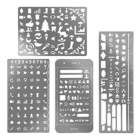 eBoot 4 Stück Edelstahl Zeichnung Malerei Schablonen Skala Vorlage Sets Grafiken Schablonen für Scrapbooking, Karten und Craft Projekte