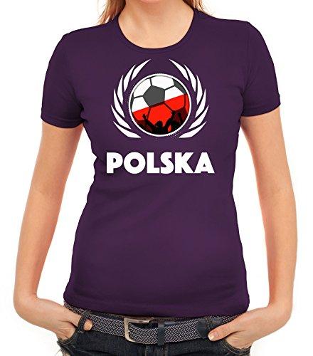 ShirtStreet Polska Poland Soccer Fussball WM Fanfest Gruppen Fan Wappen Damen T-Shirt Fußball Polen Lila