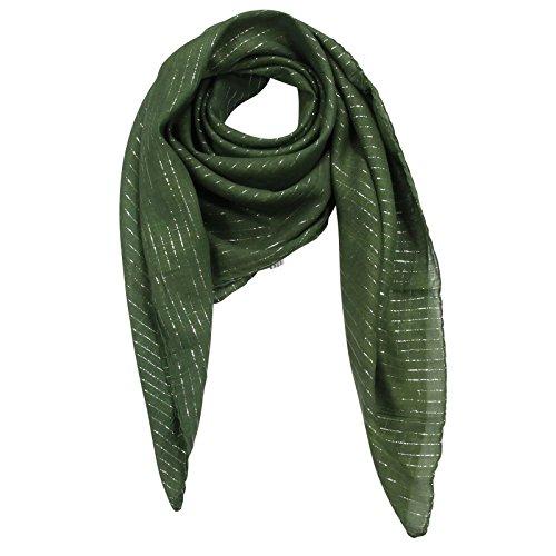 (Superfreak® Baumwolltuch mit Silber Lurex - Tuch - Schal - 100x100 cm - 100% Baumwolle Farbe: grün)