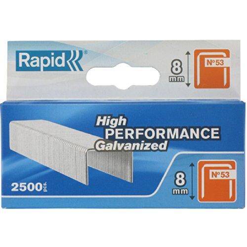 Rapid, 11857025, Agrafes en fil fin N°53, Longueur 8mm, 2500 pièces, Pour le textile et la décoration, Fil galvanisé, Haute performance