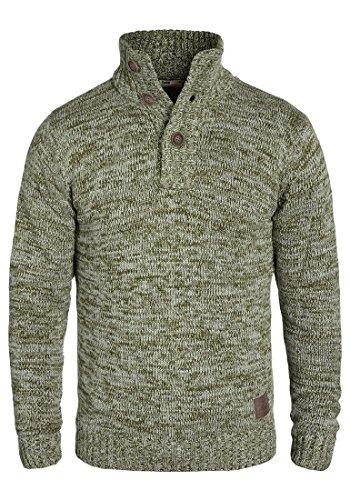 !Solid Philario Herren Winter Pullover Strickpullover Troyer Grobstrick mit Knopfleiste, Größe:M, Farbe:Ivy Green (3797) -