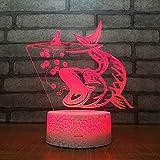 3D Lampara Led Luz Ilusión óptica Botón táctil color o 7 colores cambiar gradualmente Decoración del dormitorio del bebé regalo del día de San Valentín sueño asistido pesca