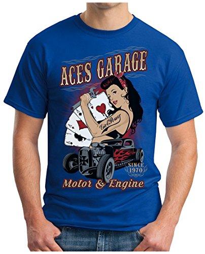 OM3 - ACES-GARAGE - T-Shirt MOTOR & ENGINE SINCE 1970 ASS Girl Power Hod Rod Amercian Cars Oldtimer GEEK, S - 5XL Royalblau