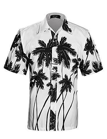 APTRO Men's Hawaiian Shirt Printing Short Sleeved Summer Beach Shirt Shhirt White XL