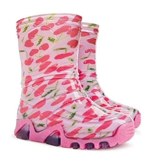 Girls Wellington Boots Kids Rainy Wellies Shoes UK All Sizes - Cherries Pink