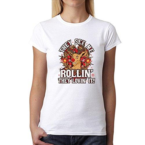 Renna Natale I Regali Donna T-shirt XS-3XL Bianca