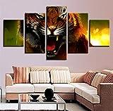 Wiwhy Wohnkultur Für Wohnzimmer Kunstwerk Rahmen Modulare Malerei 5 Stücke Heftige Tier Tiger Poster Bilder Hd Drucke Leinwand Wandkunst-20X35/45/55Cm