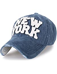ililily Washed Cotton New York Vintage Trucker Hat Casual Baseball Cap