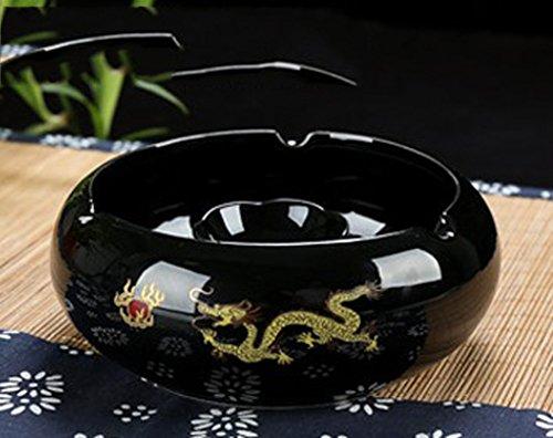 ShuaXin Chinese Retro Keramik Luxus Aschenbecher Europäische Luxus aristokratische Art und Weise kreativer schwarz