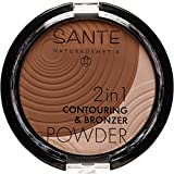 SANTE Naturkosmetik 2in1 Contouring & Bronzer Powder, 02 Mittel & Dunkel, Vegan, Bio-Extrakte, Natural Make-up, 9g
