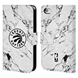 Head Case Designs Offizielle NBA Marmor Weiss 2018/19 Toronto Raptors Brieftasche Handyhülle aus Leder für iPhone 4 / iPhone 4S